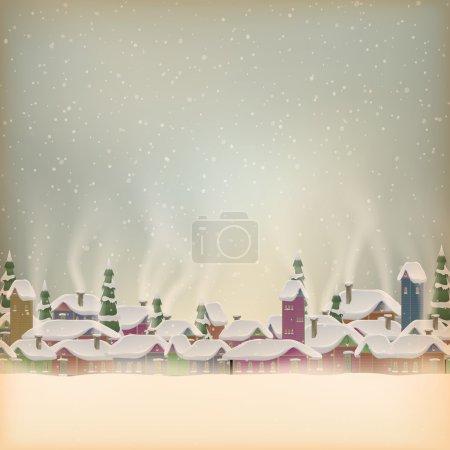 Merry Christmas retro postcard village. EPS 10