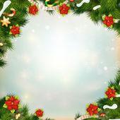 Lesklé zelené borovice s květem vánoční hvězda. EPS 10