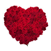 Valentines Day Heart Made of Red Roses Isolated on White Background EPS 10 vector file included