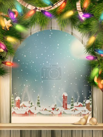 Christmas Theme - Window with a kind. EPS 10