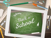 Zpátky do školy ilustrace s tabletem. EPS 10