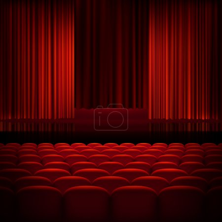 Open theater red curtains. EPS 10