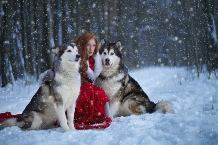 Attractive woman with the dogs