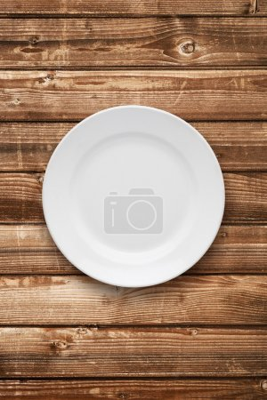 Empty plate top view on table