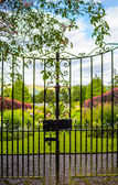 Beautiful, old garden gate with climbing ivy