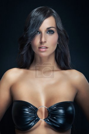 Dark portrait sexy girl in black bra