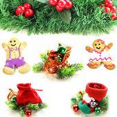 Koláž, různé Vánoční dekorace a symboly na bílém pozadí