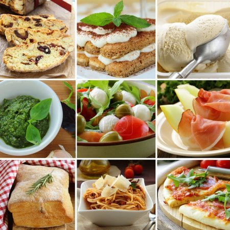 Photo for Collage menu Italian food pyramid (desserts, salads, pizza and pasta) - Royalty Free Image