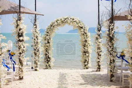 Beautiful wedding arch on the beach in Thailand