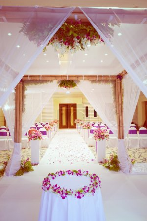 Beautiful wedding ceremony design decoration elements with arch,