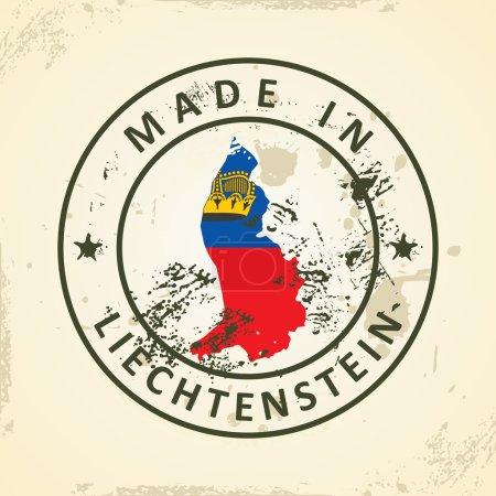 Stamp with map flag of Liechtenstein