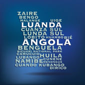 Angola map made with name of cities