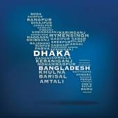 Bangladesh map made with name of cities - vector illustration