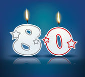 Birthday candle number 80 with flame - eps 10 vector illustration