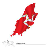 Map of Isle of Man with flag
