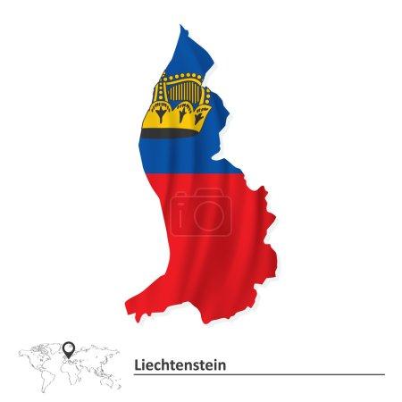 Map of Liechtenstein with flag