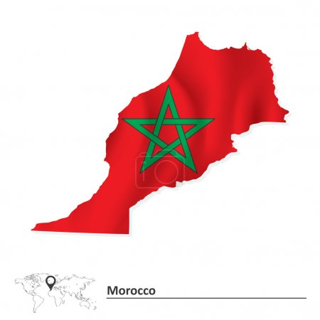 Map of Morocco with flag