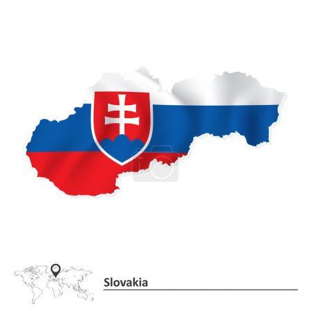 Map of Slovakia with flag