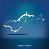 Doodle Map of American Samoa - vector illustration