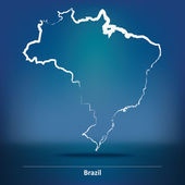 Doodle Map of Brazil - vector illustration