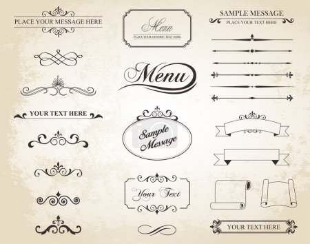 This image is a vector set that contains calligrap...