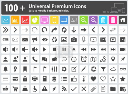 Media Icons, Web Icons, Arrow Icons, Setting Icons, Cloud Icons,