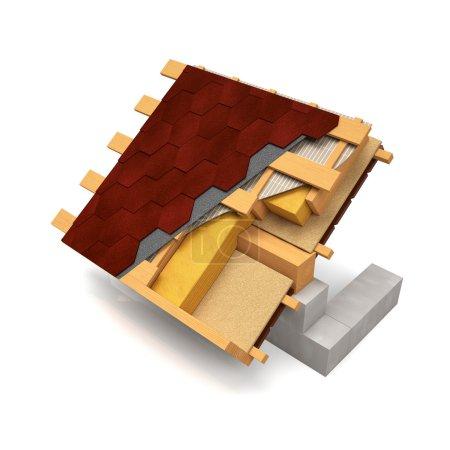 Photo pour Illustration 3D. Le motif découpé de la toiture avec bardeaux sur fond blanc - image libre de droit