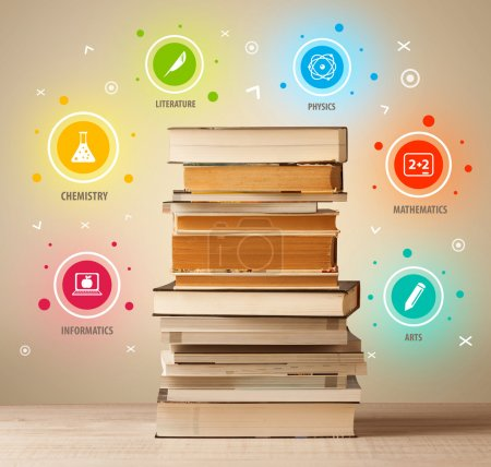 Photo for Books on top with colorful symbols on vintage old background - Royalty Free Image