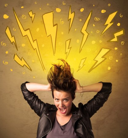 Photo for Young woman with hair style and hand drawn lightnings concept on background - Royalty Free Image