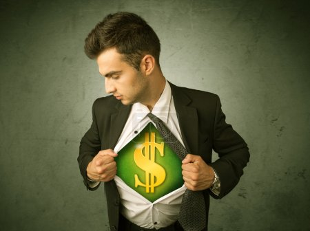 Businessman tearing off his shirt with dollar sign on chest