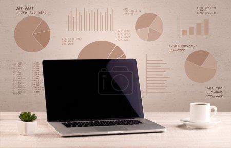 Photo for Graphic business office desk with pie charts and graphs on the brown sepia background wall - Royalty Free Image