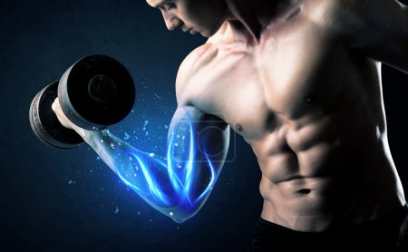 Photo for Fit athlete lifting weight with blue muscle light concept on background - Royalty Free Image