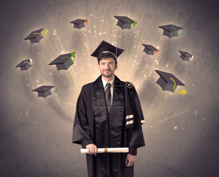 Photo for College graduate with many flying hats on grunge background - Royalty Free Image