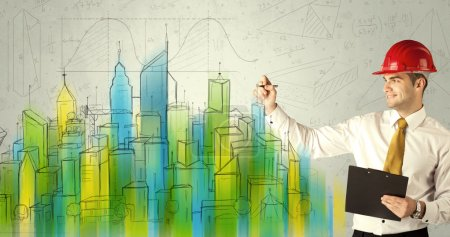Business architect sketching a cityscape