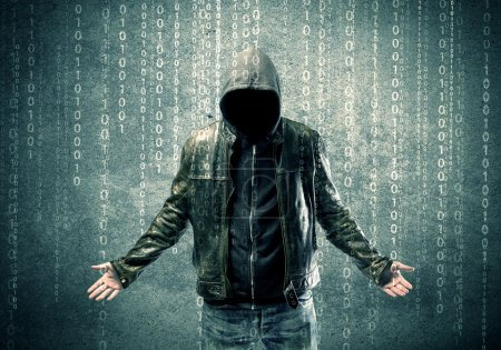 Photo for An adult online anonymous internet hacker with invisible face in urban environment and number codes illustration concept - Royalty Free Image