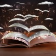 Pages and glowing letters flying out of a book on ...