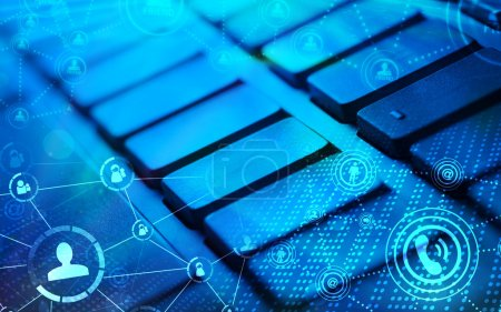 Photo for Computer keyboard with glowing icons, social networking concept - Royalty Free Image