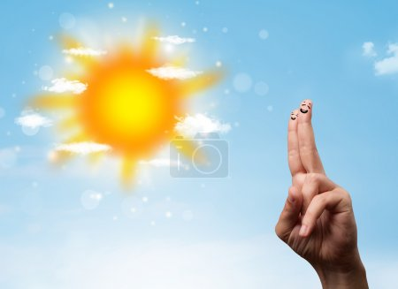Photo for Cheerful happy smiling fingers with bright sun and clouds illustration - Royalty Free Image