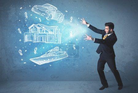 Photo pour Riche personne jetant main voiture dessinée yacht et maison concept - image libre de droit