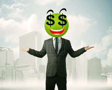 Photo for Businessman with dollar sign smiley face - Royalty Free Image