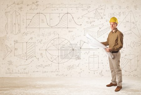 Handsome engineer calculating with hand drawn background