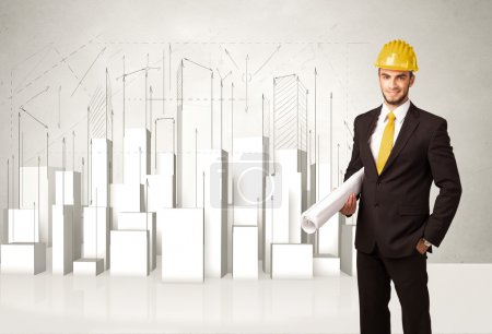 Construction worker planing with 3d buildings in background