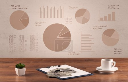 Pie chart graph office desk