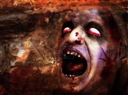 Photo pour Tête sanglante déformées pour halloween - image libre de droit