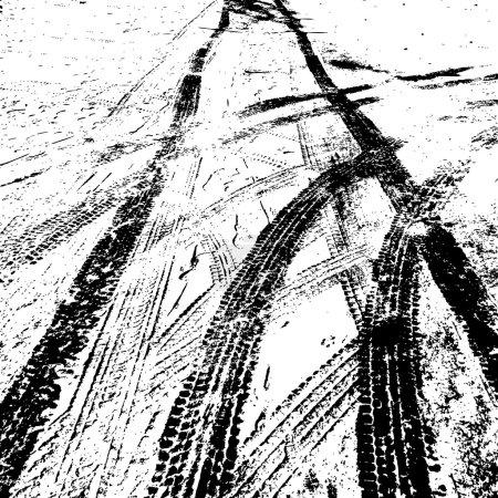 Grunge background with black tire track. Vector illustration