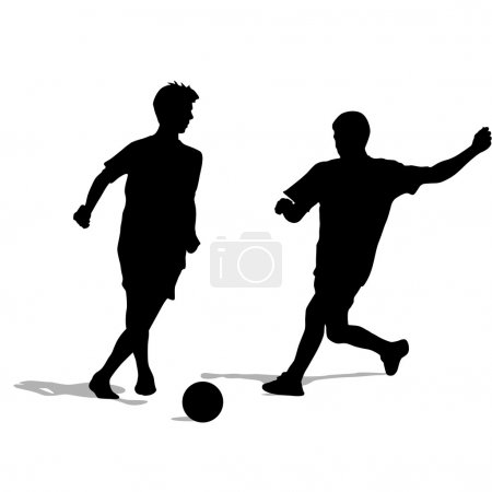 silhouettes of soccer players with the ball. Vector illustratio
