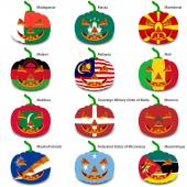Set pumpkins for Halloween as a flags of the world Vector illus
