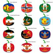 Set pumpkins for Halloween as a flags of the world. Vector illus