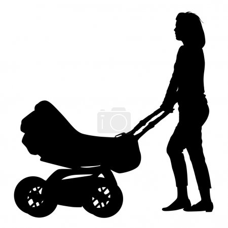 siluety procházek maminky s kočárky. vektorové ilustrace