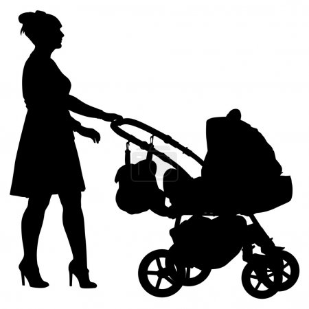 Silhouettes  walkings mothers with baby strollers. Vector illust